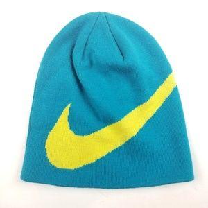 Nike Blue Yellow Warp Knit Skateboarding Beanie